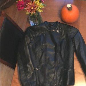 Black feaux leather moto jacket
